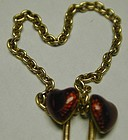 18K gold double chained stickpins, red enamel hearts
