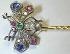 Butterfly Stickpin, pearls, rubies, diamonds, sapphires