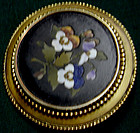 Brooch of pietra dura pansies, set in 15K gold bezel c18