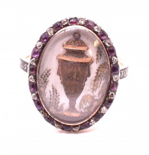 Ring, Memorial 18K, diamond and amethyst with hair paint