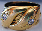 Ring, 18K double snakes with diamonds