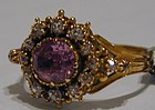 Ring, 18K, pink topaz & diamonds c 1780