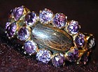 Ring of amethyst and hair in 15K, hm 1817