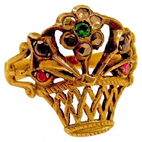 Ring, giardinetti, set in silver & 18K c1850