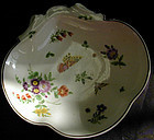 Worcester Dr. Wall polychrome floral dish, Ca 1765
