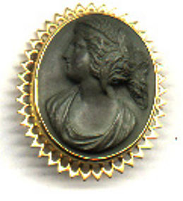 Brooch: cameo of carved of green lava