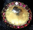 15K Georgian Ring, almondine garnets around moss agate