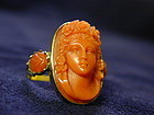 Ring, Coral Cameo and 15K Gold, c1830
