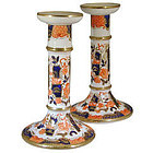 Antique Pair of Porcelain Imari Pattern Candlesticks