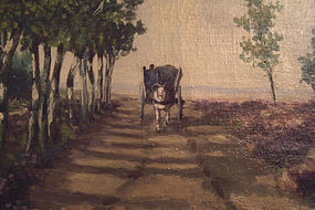 Horse drawn wagon along tree lined path. Oil on canvas