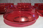 Set Five Victorian Waisted Cranberry Glass Fingerbowls