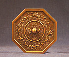 Crisp Japanese gilt bronze miniature mirror, marked