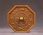 Crisp Japanese gilt bronze miniature mirror, marked