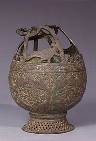 Kashmiri, Mughal Style Chiseled, Stippled Bronze Kangri