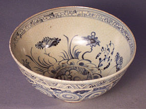 15th-16th C. Annamese Blue & White Bowl, Aquatic Motif