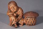 Japanese Bizen Pottery Figural Incense Burner, Koro