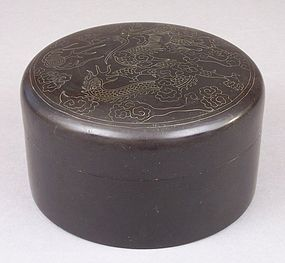 Korean Wire Inlaid Round Lacquer Box, Dragon Decoration