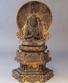 Edo Period Dainichi Nyorai Sculpture, Throne, Mandorla