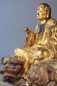 Edo Period Monju Bosatsu on Shishi, crystal Inlaid eyes