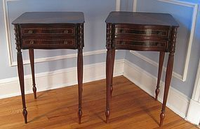 Pair 19th C Bench Made Federal Style Mahogany Stands