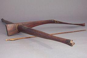 Montagnard Hardwood and Ox Bone Crossbow, Bamboo Arrow