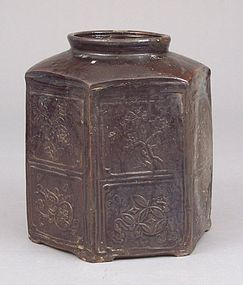 Unusual Hexagonal Brown Glazed Mizuzashi, Molded Decor