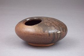 Modern Japanese Seal Marked Tenmoku Glazed Pottery Koro