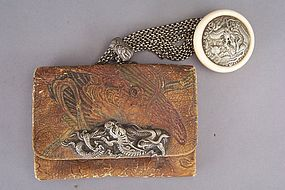 Japanese Tobacco Pouch, Clasp and Kagamibuta Netsuke