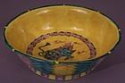 Japanese Ao-Kutani Palette Basket-form Fahua Bowl