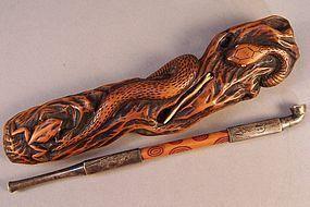 Mingei Kiseruzutsu. Snake & Frog Decor, Compass, Kiseru