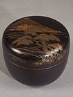 Zohiko Lacquer Natsume. Mt Fuji, Pine & Lake Decoration