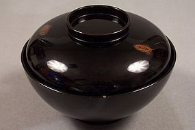 Zohiko lacquer covered bowl, 5 inch, with leaf motif