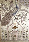 Indian Zardozi Silk Panel - The Taj Mahal, Tree of Life