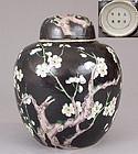 Famille Noire Ginger Jar Prunus Decoration, Kangxi Mark