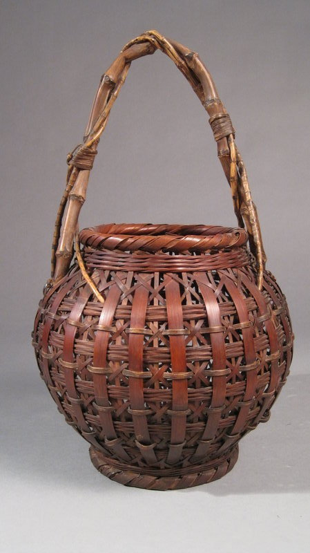 Japanese Bamboo Flower Basket, Spherical, Arched Handle