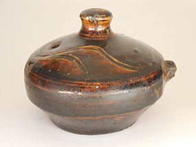Korean, Joseon Dynasty Brown Glazed Water Dropper, Incised Decoration