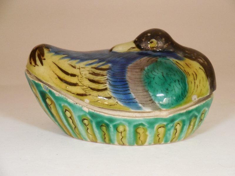 Ao-Kutani Palette Duck Form Porcelain Kogo, Yoshidaya Style