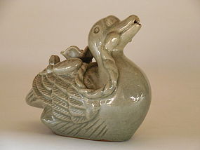 Korean, Republican Celadon Porcelain Duck Form Water Dropper, 20th C.