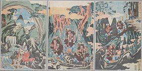 Shigenobu Oban Tate-e Triptych, Journey to Mountain Home of the Demons