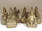 Set Six Indonesian Bronze Mandala Figures with Instruments and Sutra
