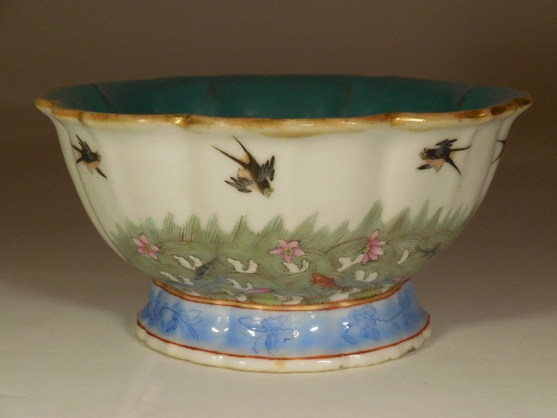 Chinese Famille Rose Porcelain Bowl, Brids and Fish, Daoguang mark