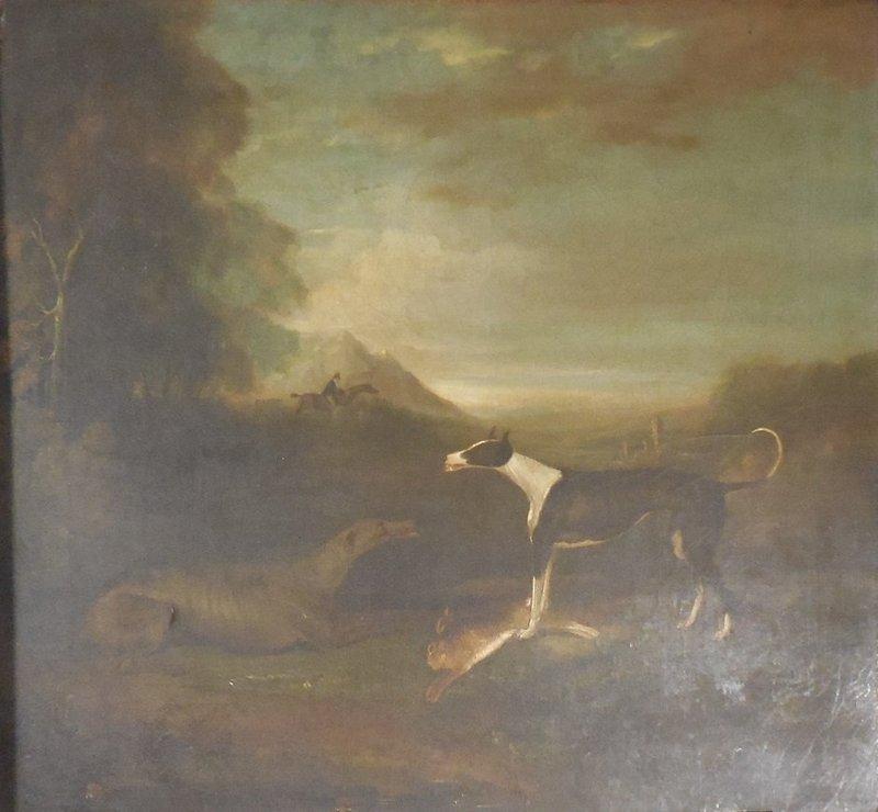 English Animalier Hunt Painting. Greyhounds With Hare, Huntsman Beyond