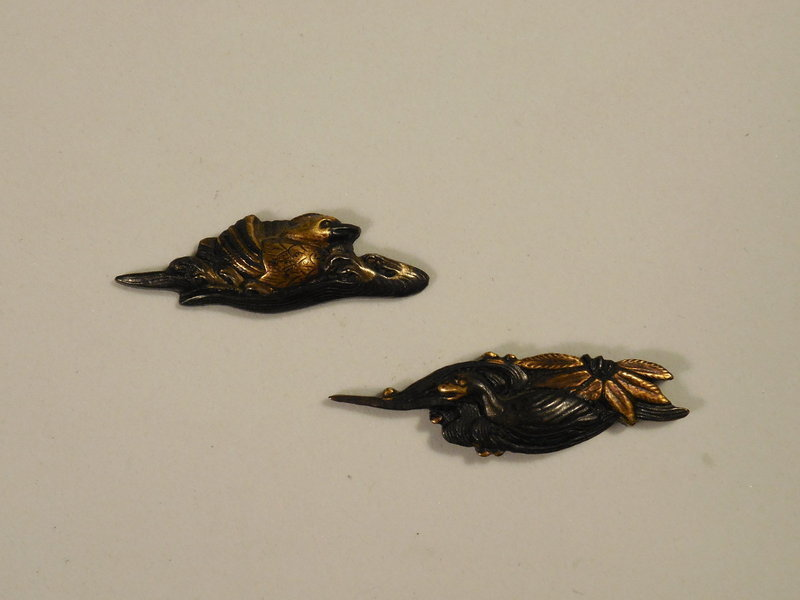 Two, Matched Edo Period Mixed Metal Menuki, Ducks In Water Motif