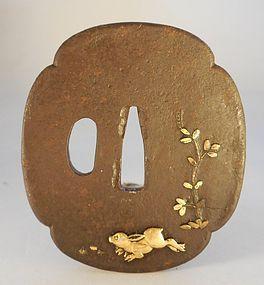 Iron Mokogata Form Iron Tsuba, Gilt Relief Hare and Vine Decoration