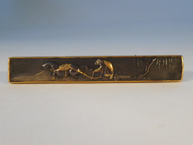 Edo Period Shakudo Mixed Metal Kozuka, Farmer with Horse Plowing Rice