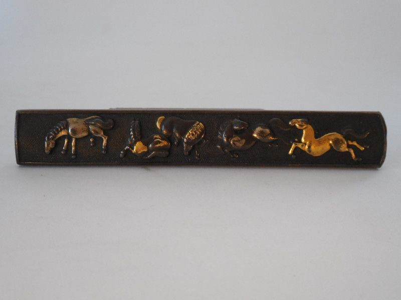 Edo Period Shakudo Kozuka, Horses Decoration in Gold, Silver Overlay