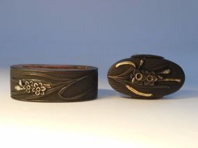 Shakudo and Mixed Metal Fuchi-Kashira, Gold, Silver Flowers Decoration