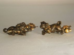 Pair Shishi or Dogs Menuki, Patinated Kinko with Gold Decoration