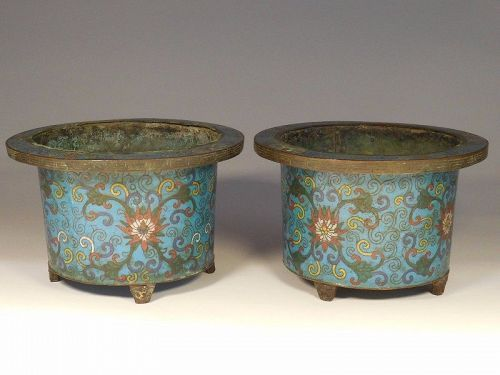 Pair Late Qing Dynasty Cloisonne Footed Bulb Pots. Lotus Decoration