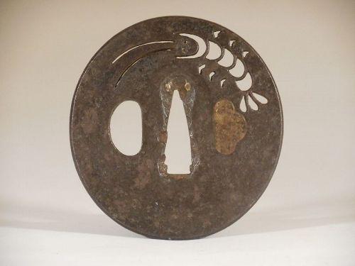 Katchushi Iron Tsuba with Sukashi Decoration of Ebi